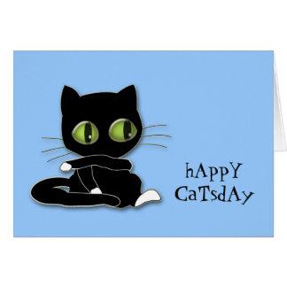 Cartão gato preto com meias brancas