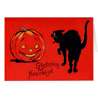 Cartão Gato preto da abóbora da lanterna de Jack O