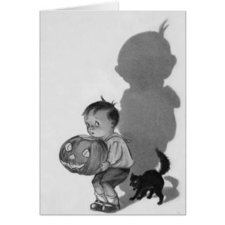 Cartão Gato preto da sombra monocromática da lanterna de