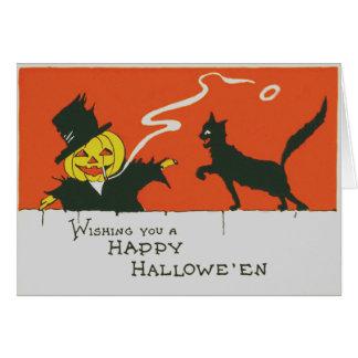 Cartão Gato preto de fumo da lanterna de Jack O do
