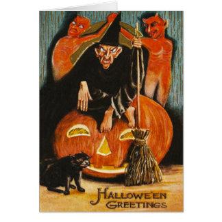 Cartão Gato preto do demónio do diabo da lanterna de Jack