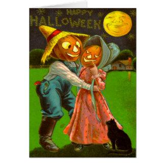 Cartão Gato preto do Sr. & da Sra. Abóbora Com Seu