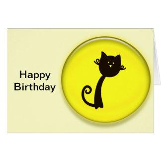 Cartão Gato preto dos desenhos animados bonitos