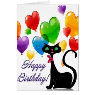 Cartão Gato preto e balões