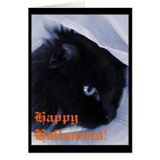 Cartão Gato preto feliz o Dia das Bruxas