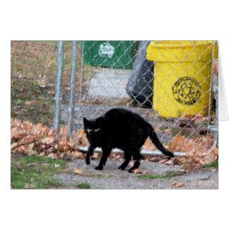 Cartão Gato preto na arte de Digitas do outono