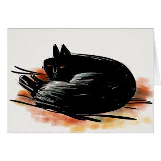 Cartão Gato preto que olha o