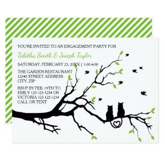 Cartão Gatos em listras de uma árvore - festa de noivado
