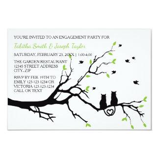 Cartão Gatos em uma árvore - festa de noivado 3x5