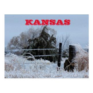 Cartão gelado da cerca de Kansas