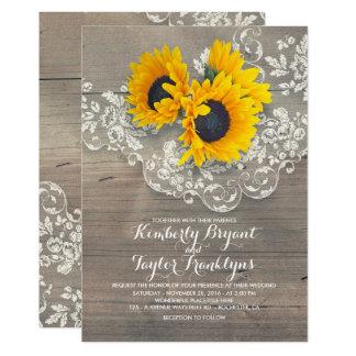 Cartão Girassóis rústicos e casamento floral do laço do