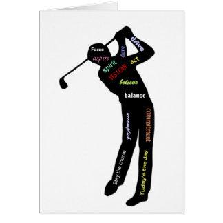Cartão Golfe, esporte, palavras inspiradores