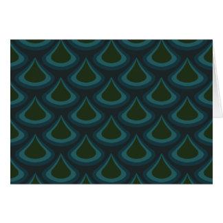 Cartão Gotas esmeraldas do pavão de Nouveau