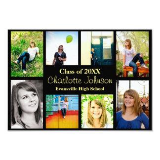 Cartão Graduação Announcement-3x5Black de oito/nove fotos