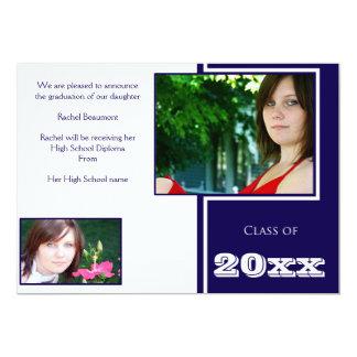 Cartão Graduação branca e azul moderna