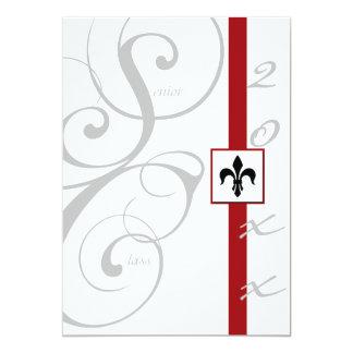 Cartão Graduação branca e vermelha da fita de rolo