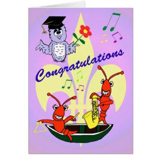 Cartão Graduação temático dos lagostins de Cajun