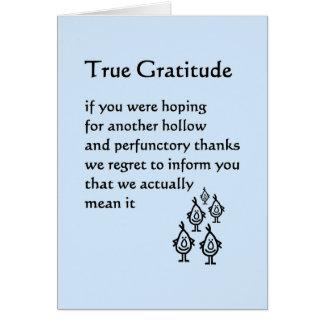 Cartão Gratitude verdadeira - um obrigado engraçado você