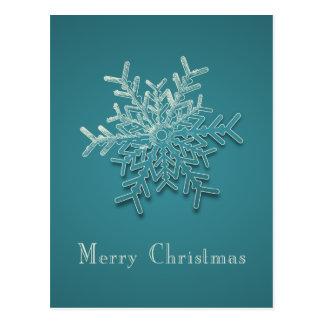 Cartão gravado do Natal do floco de neve Cartão Postal