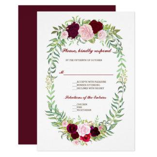 Cartão Grinalda floral rústica Borgonha de Marsala que