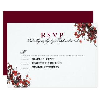 Cartão Grinalda floral vermelha de Borgonha que Wedding