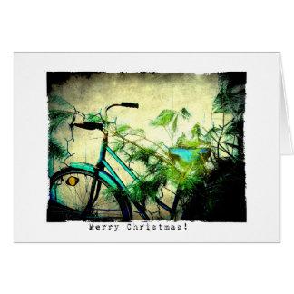 Cartão Grunge do Natal da bicicleta