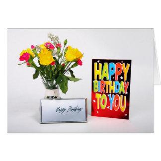 Cartão Happy Birthday Card em Card - with Flowers