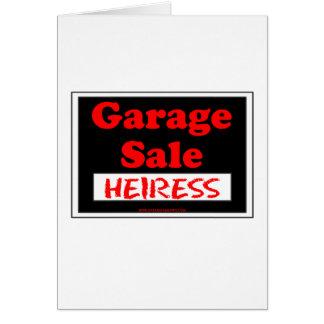 Cartão Herdeira da venda de garagem