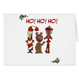 Cartão Ho! Ho! Ho! de 3 loucos do Natal