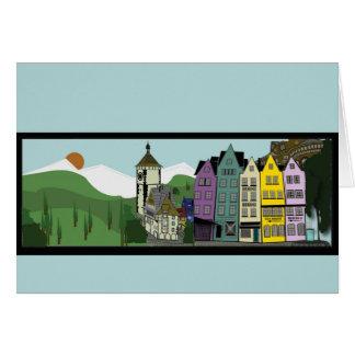 Cartão horizontal alemão da cena 7X5 de Cartoony