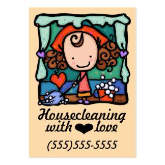 Cartão Housecleaning do promo da limpeza do Cartão De Visita Grande