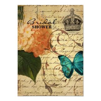 Cartão hydrangea botânico francês da borboleta da arte da