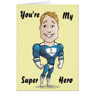 Cartão Ilustração bonito do vetor do super-herói
