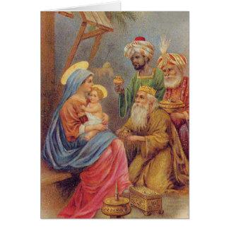 Cartão Ilustração de Jesus da natividade do vintage do