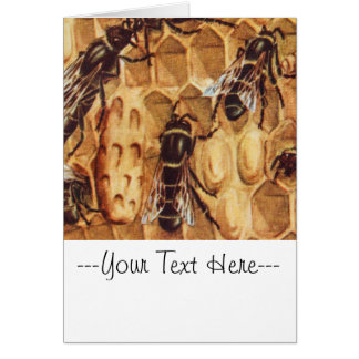 Cartão Ilustração do vintage, abelhas em uma colmeia