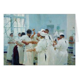 Cartão Ilya Repin- o cirurgião no teatro de funcionamento