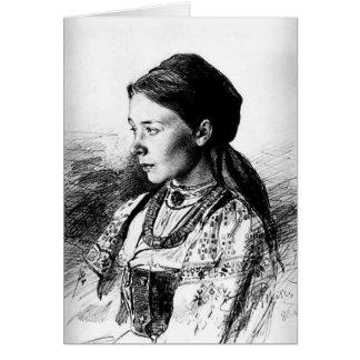 Cartão Ilya Repin: Retrato de Maria Artsybasheva