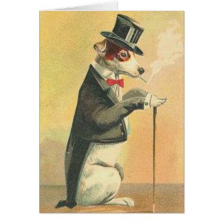 Cartão Imagem do vintage - o cachorrinho na sociedade