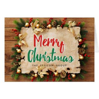 Cartão incorporado do Feliz Natal da festão do