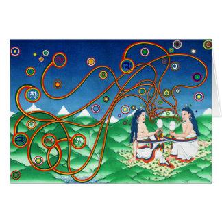 Cartão Incorporando o coração do Sun e da lua [cartão]