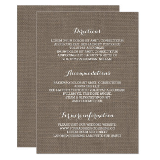 Cartão Informação de detalhes rústica do casamento de