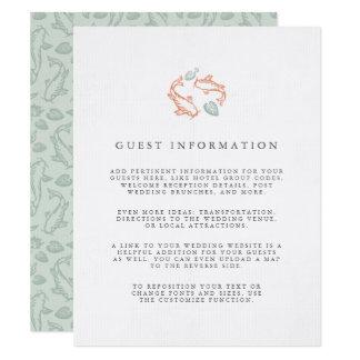 Cartão Informação do convidado do casamento da lagoa de