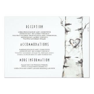 Cartão Informação rústica do casamento da aguarela da
