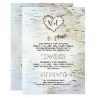 Cartão Informação rústica do casamento do coração do