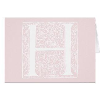 """Cartão Iniciais do rosa cor-de-rosa """"H"""" do monograma da"""