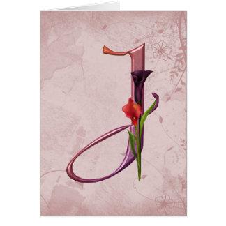 Cartão Inicial colorida J do Calla
