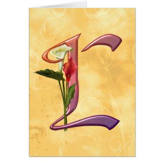 Cartão Inicial colorida L do Calla