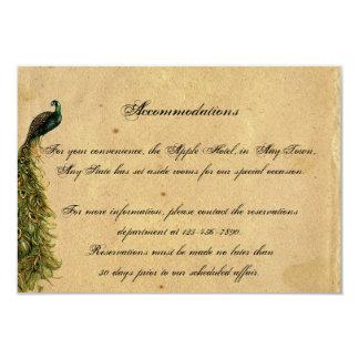 Cartão Inserção fino do casamento do pavão elegante do