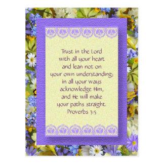 Cartão inspirado - confiança no deus - cartões postais