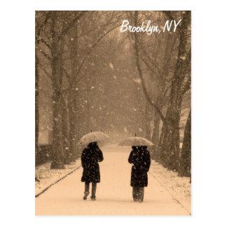 Cartão invernal de Brooklyn da caminhada Cartão Postal